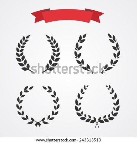 Laurel wreath set - stock vector