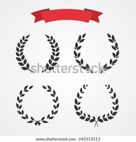 Laurel wreath set - stock vector