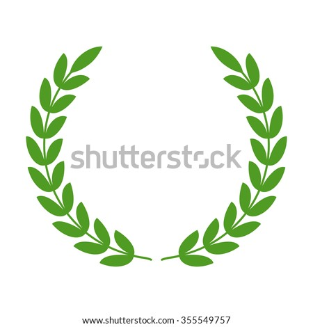 Laurel wreath - symbol of victory and power flat icon for apps and websites  - stock vector
