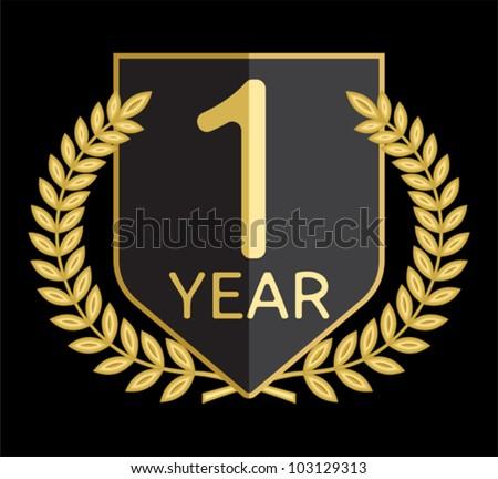 laurel wreath 1 year - stock vector