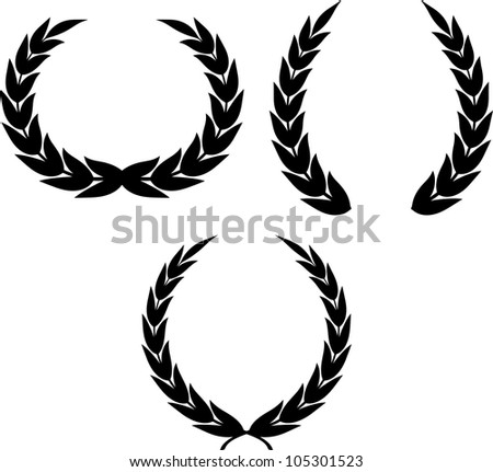 Laurel wreaths clipart drawing isolated - stock vector
