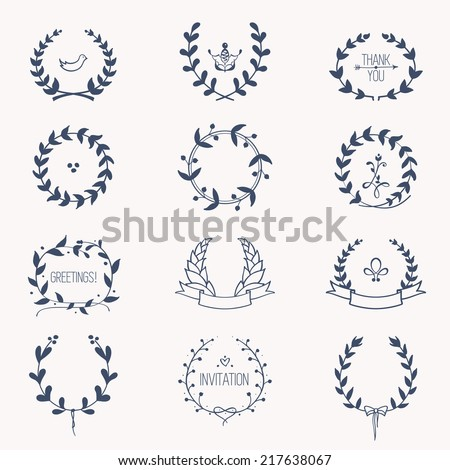 Laurel wreaths: hand drawn vector set of circular frame silhouettes for wedding invitations, birthday and greeting cards - stock vector