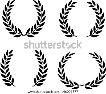 Laurel wreaths set vector isolated  - stock vector