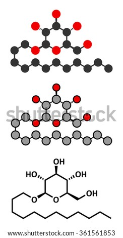 Lauryl glucoside (dodecyl glucoside) non-ionic surfactant molecule. Mild detergent, often used in cosmetics, shampoos, etc. Glycoside produced from lauryl alcohol and glucose.  - stock vector