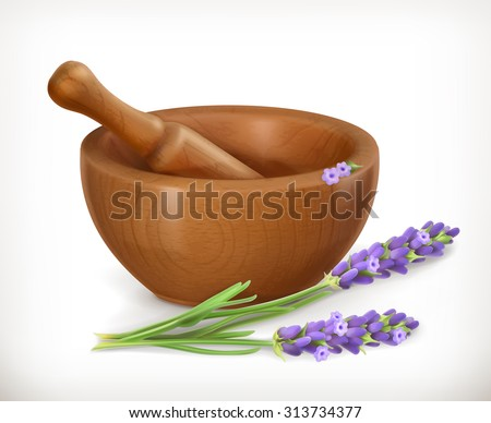 Lavender and wooden mortar, vector icon - stock vector