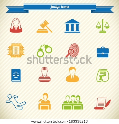 Law and justice icon set  - stock vector
