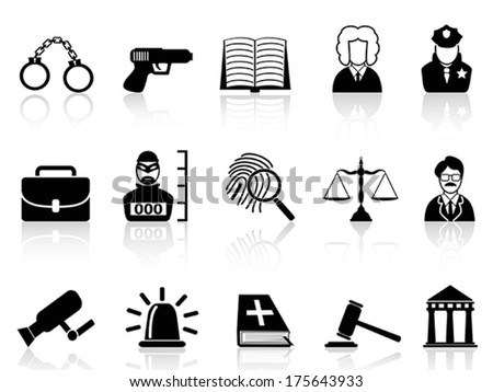 Law and Justice icons set - stock vector