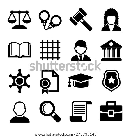 Law and Justice Icons Set. Vector - stock vector