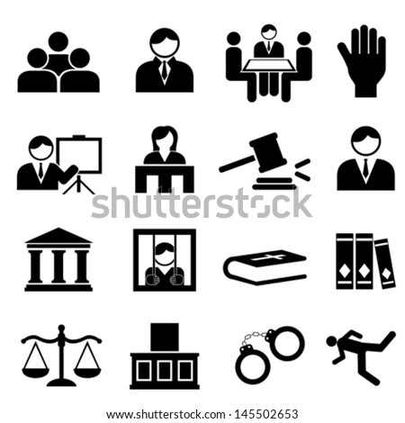 Law and legal icon set - stock vector