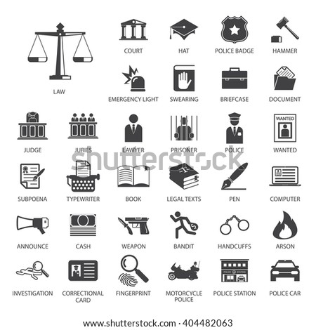 Law and police icon set - stock vector