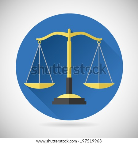Law Balance Symbol Justice Scales Icon on Stylish Background Modern Flat Design Vector Illustration - stock vector