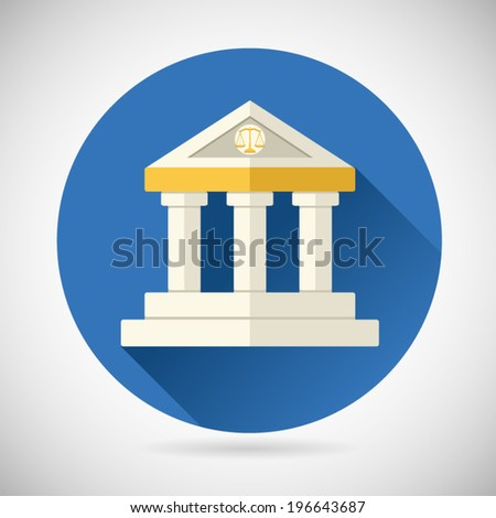 Law Court, Museum Bank House Symbol Justice, Finance, or History and Knowledge Icon on Stylish Background Modern Flat Design Vector Illustration - stock vector