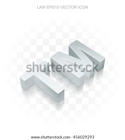 Law icon: Flat metallic 3d Trademark, transparent shadow on light background, EPS 10 vector illustration. - stock vector