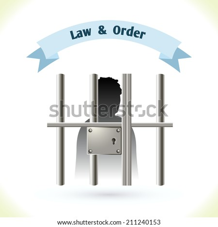Law icon prisoner silhouette in jail isolated on white background vector illustration - stock vector