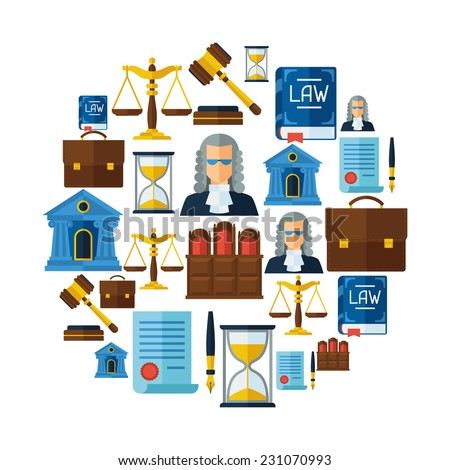 Law icons background in flat design style. - stock vector