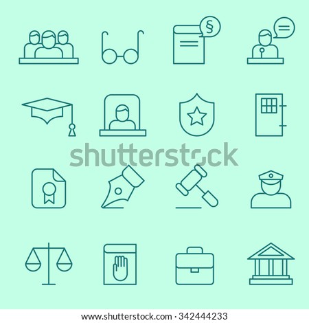 Law icons, thin line design - stock vector