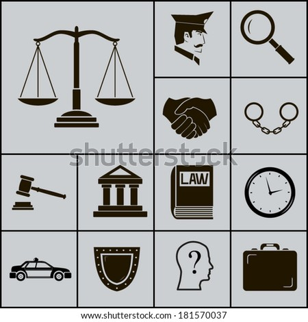 Law Justice Police Icons and Symbols Silhouette on Gray Background Vector Illustration - stock vector
