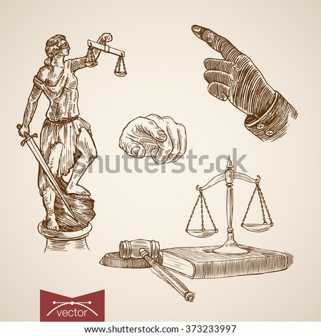 Law legal business accessory Themis Lady Justice scales wages judge hammer hand point icon set. Engraving style pen pencil crosshatch hatching paper painting retro vintage vector lineart illustration. - stock vector