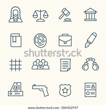 Law line icons - stock vector
