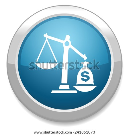 law scales with dollars icon - stock vector