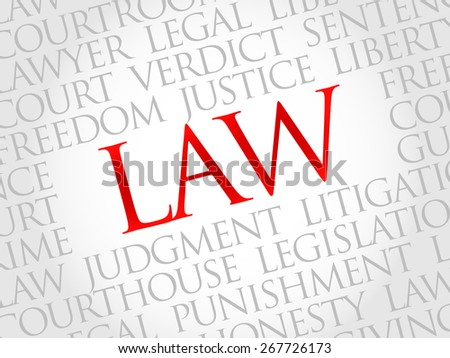 Law word cloud concept - stock vector