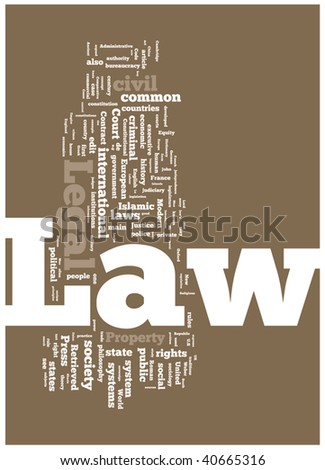 Law word cloud illustration. Graphic tag collection. - stock vector