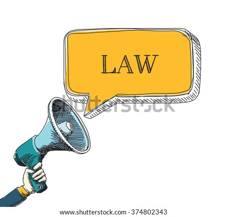 LAW word in speech bubble with sketch drawing style - stock vector