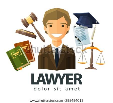 lawyer, attorney, jurist vector logo design template. jurisprudence, law or court icon. flat illustration - stock vector