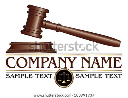 Lawyer or Law Firm Design is an illustration of a design for law, lawyers, or law firms. Includes a gavel, scales of justice and space for your text such as your company name, established date. etc. - stock vector