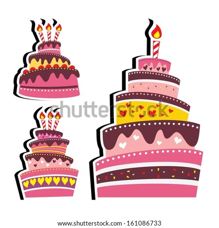 Layered Delicious Birthday or Wedding Cake Element Template with Candle Vector - stock vector