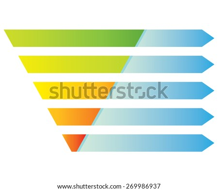 layered segment diagram, pyramid digram - stock vector