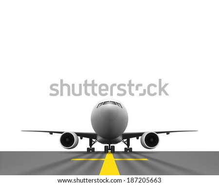 Layered vector illustration of Airplane with Perspective view. - stock vector