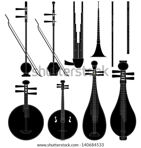 Layered vector illustration of collected Chinese Music Instruments. - stock vector