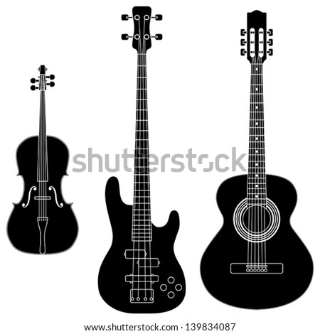 Layered vector illustration of collected String Instruments Silhouette. - stock vector