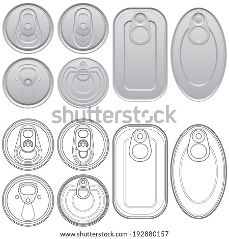 Layered vector illustration of different Cans with top view. - stock vector