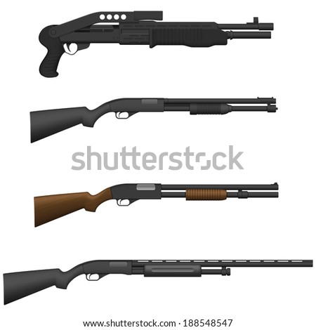 Layered vector illustration of different Shotguns. - stock vector