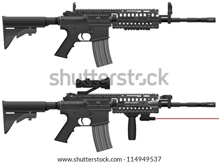 Layered Vector Illustration Of Machine Gun. - stock vector