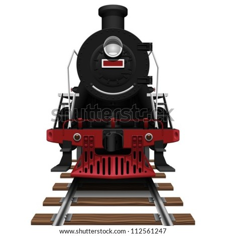 Layered Vector Illustration Of Steam Locomotive. - stock vector