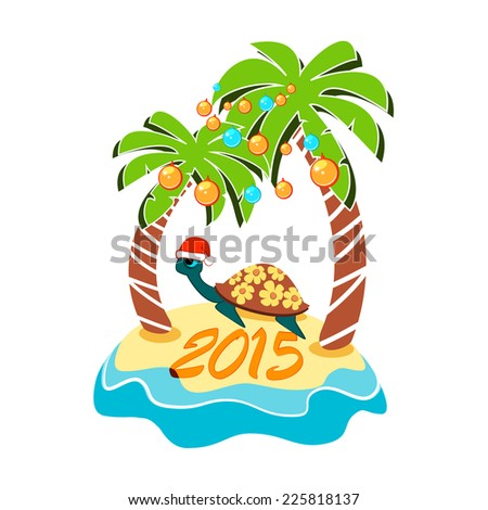 Laying turtle with santa hats on a tropical island - stock vector