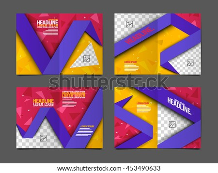 Layout Design Template, Cover Book, Colorful Geograohic Abstact Background - stock vector