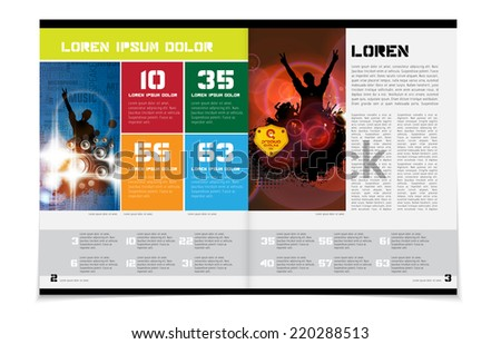 Layout magazine with music event subiect, vector  - stock vector