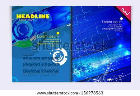 Layout magazine with technical background. Vector - stock vector