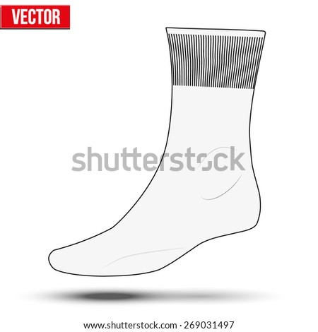 Layout of white socks. Sketch style. Editable Vector Illustration isolated on white background. - stock vector
