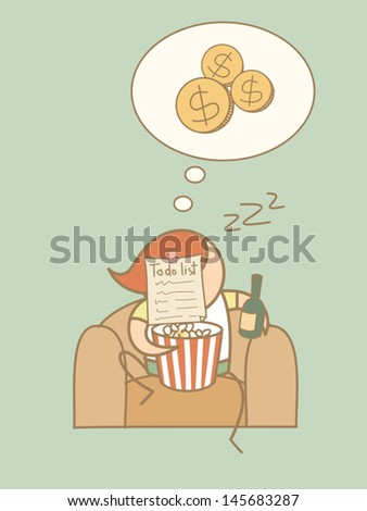 lazy man day dream rich cartoon character concept - stock vector