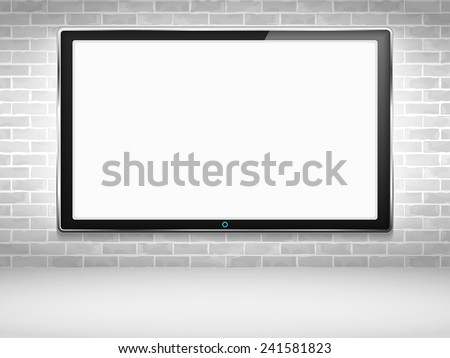 LCD TV on the wall, vector eps10 illustration - stock vector