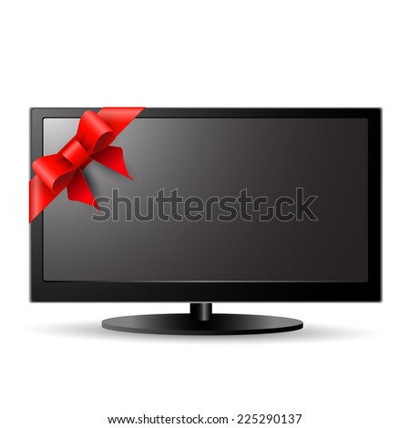 LCD TV with red bow - stock vector