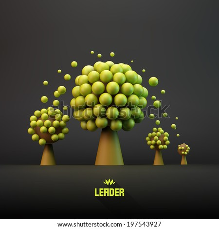 LEADER. Business concept illustration. Leadership 3D vector illustration. - stock vector