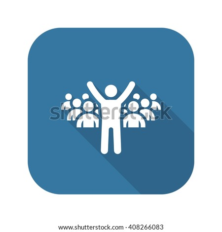Leader Icon. Business Concept. Flat Design  with Long Shadow - stock vector