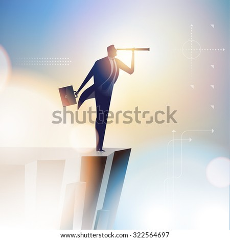 Leader. Illustration of businessman looking through spy-glass - stock vector