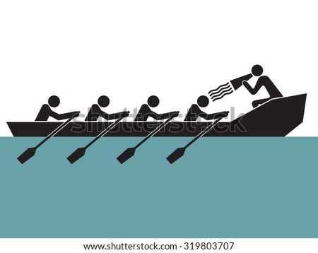 leader is loudly yelling to cheer up  rowing boat team - stock vector